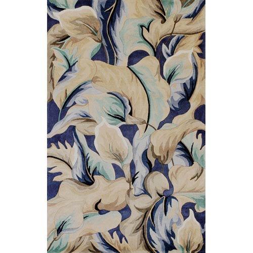 KAS Oriental Rugs Catalina Blue Calla Lillies Rectangular: 5 Ft. x 8 Ft.  Rug