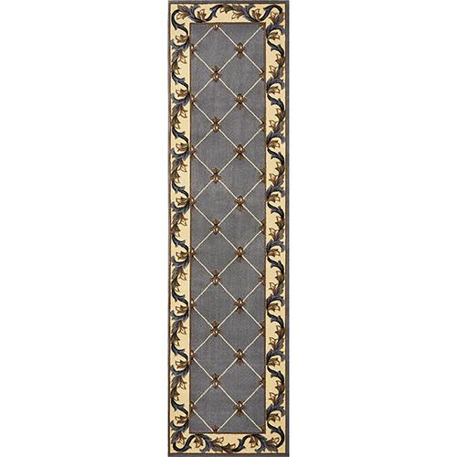 KAS Oriental Rugs Corinthian Slate Blue Fleur-De-Lis Runner: 2 Ft. 2 In. x 7 Ft. 11 In. Rug