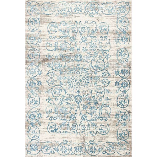 KAS Oriental Rugs Crete Ivory and Blue Rectangular: 3 Ft. 3-Inch x 4 Ft. 7-Inch Rug