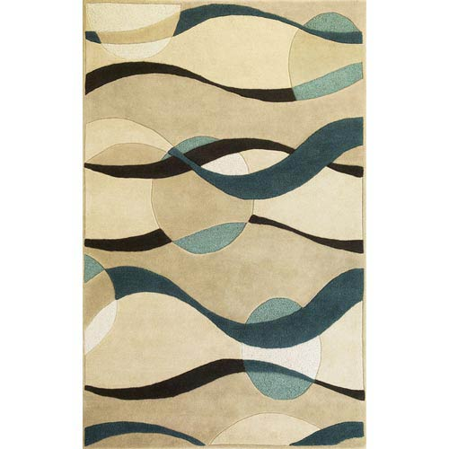 KAS Oriental Rugs Eternity Ivory/Blue Orbit Rectangular: 5 ft. x 8 ft. Rug