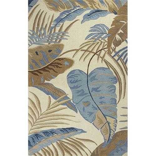 KAS Oriental Rugs Havana Ivory and Blue Rainforest Runner: 2 Ft. 3 In. x 8 Ft. Rug