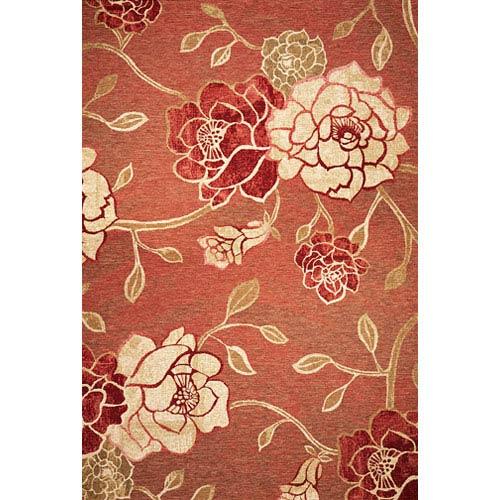 KAS Oriental Rugs Horizon Brick Red Flora Rectangular: 5 Ft. 3 In. x 7 Ft. 7 In.  Rug