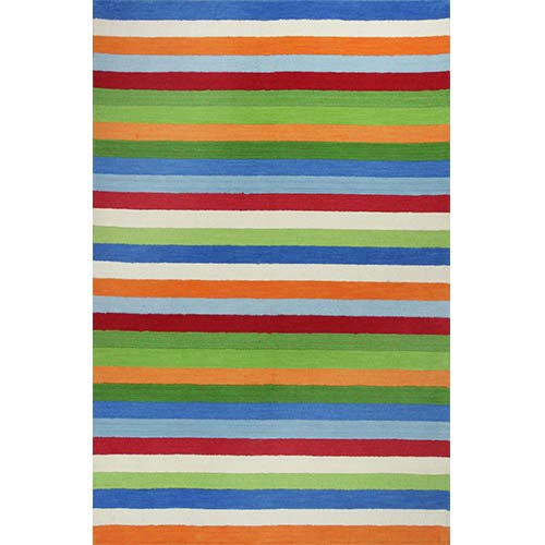 Kidding Around Cool Stripes Round: 3 Ft. Rug
