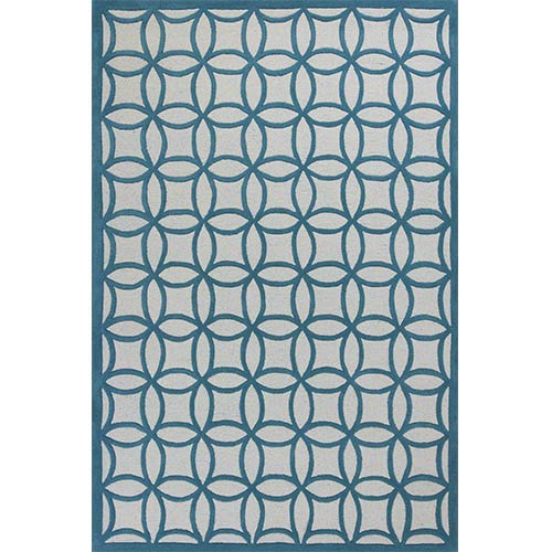 Kidding Around Teal Kaleidoscope Rectangular: 5 Ft. x 7 Ft. 6 In. Rug