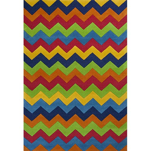 KAS Oriental Rugs Kidding Around Multi-Colored Cool Ziggy Zaggy Rectangular: 5 Ft. x 7 Ft. 6 In. Rug