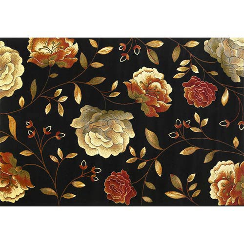 KAS Oriental Rugs Lifestyles Black Capri Rectangular: 5 ft. 3 in. x 7 ft. 7 in. Rug