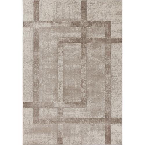 Libby Langdon Winston Cream Block Border Rectangular: 3 Ft. 3 In. x 4 Ft. 11 In. Rug
