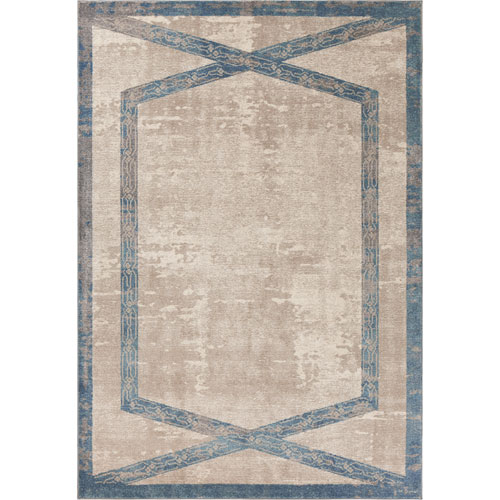 Libby Langdon Winston Tan and Teal Target Overlay Rectangular: 3 Ft. 3 In. x 4 Ft. 11 In. Rug