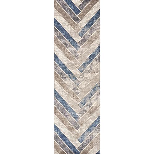 KAS Oriental Rugs Libby Langdon Winston Tan and Teal Herringbone Runner: 2 Ft. 2 In. x 7 Ft. 6 In. Rug