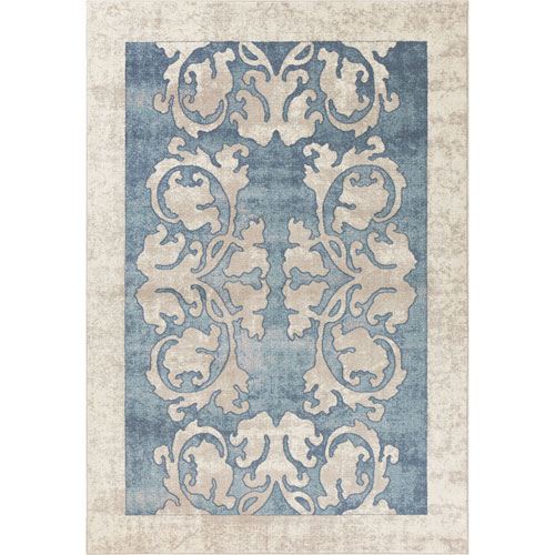Libby Langdon Winston Teal Watercolor Batik Rectangular: 3 Ft. 3 In. x 4 Ft. 11 In. Rug