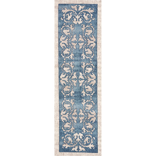 KAS Oriental Rugs Libby Langdon Winston Teal Watercolor Batik Runner: 2 Ft. 2 In. x 7 Ft. 6 In. Rug
