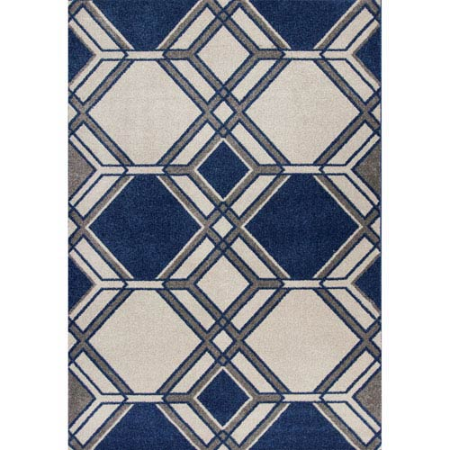 Lucia Ivory and Denim Rectangular: 23 In. x 45 In. Rug