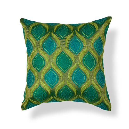 KAS Oriental Rugs Teal and Green Tribeca 18-Inch Decorative Pillow