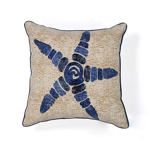 Blue and Natural Starfish Elegance 18-Inch Decorative Pillow