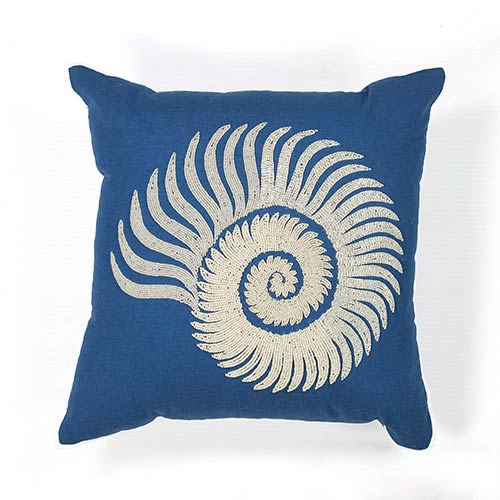 Blue and White Seashell Spiral 18-Inch Decorative Pillow