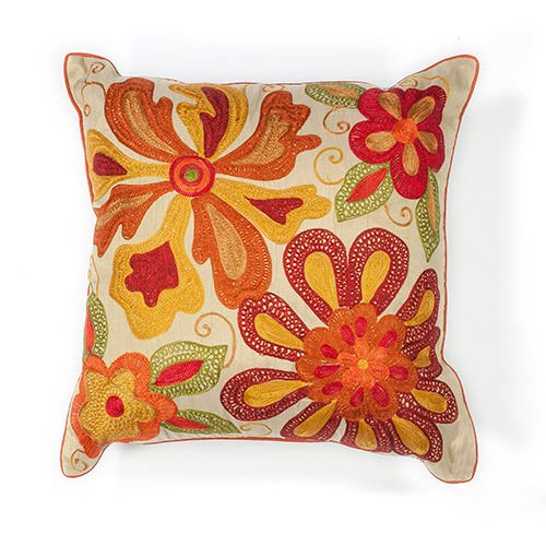 KAS Oriental Rugs Ivory and Red Sea Flora 18-Inch Decorative Pillow