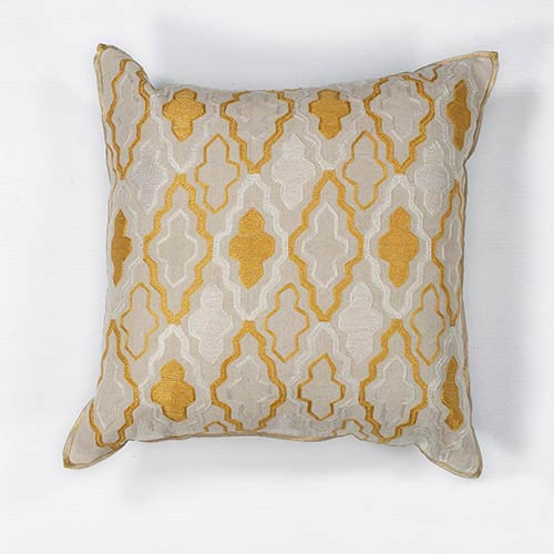 KAS Oriental Rugs Ivory and Yellow Groove 18-Inch Decorative Pillow