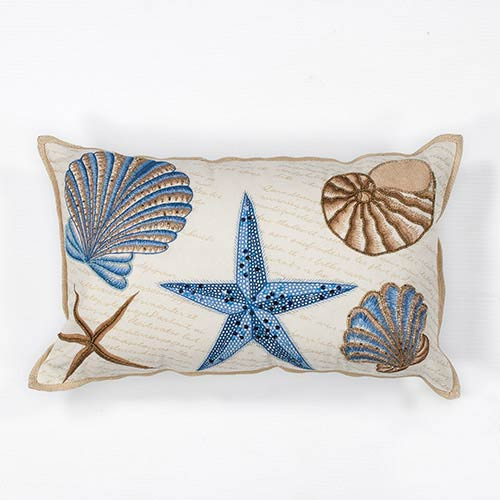 Ivory and Blue Seashells 12 x 20-Inch Rectangular Decorative Pillow