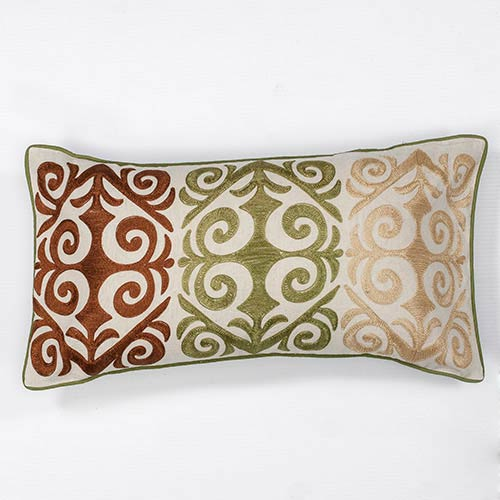 Multicolor Damask 12 x 20-Inch Rectangular Decorative Pillow