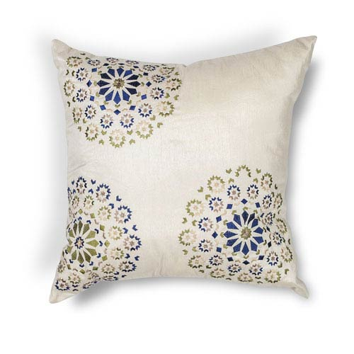 Ivory and Blue 20-Inch Throw Pillow