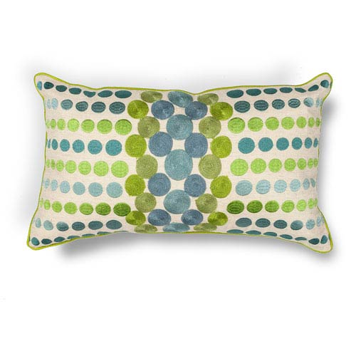 Blue and Green 12-Inch Rectangular Throw Pillow