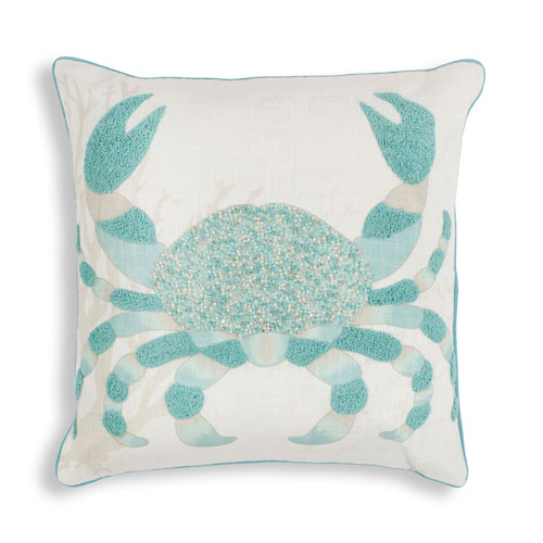 KAS Oriental Rugs Aqua Crab 18 In. Pillow