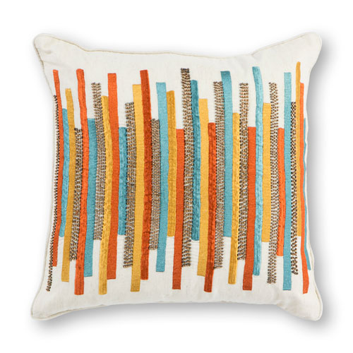 Teal and Gold Stripes 18 In. Pillow