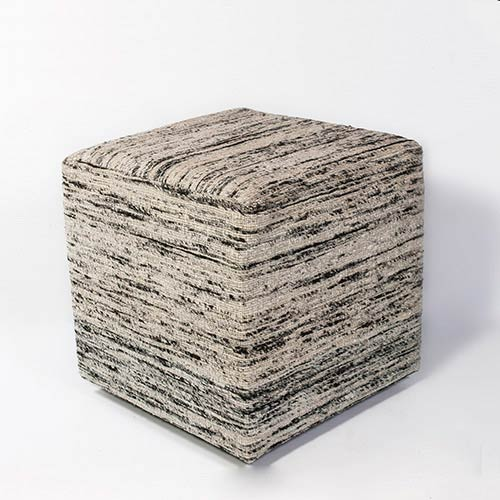 KAS Oriental Rugs Black and White Viscose Square Pouf