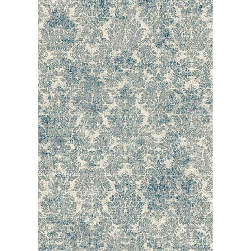 KAS Oriental Rugs Provence Ivory and Blue Rectangular: 2 Ft. 2-Inch x 3 Ft. 7-Inch