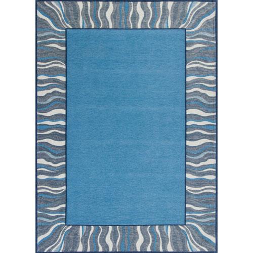 KAS Oriental Rugs Retreat Denim Blue Waves Rectangular: 20 In. x 31 In. Rug