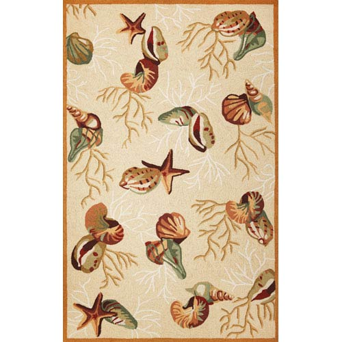 Sonesta Beige Coral Reef Rectangular: 5 Ft. x 7 Ft. 6 In.  Rug