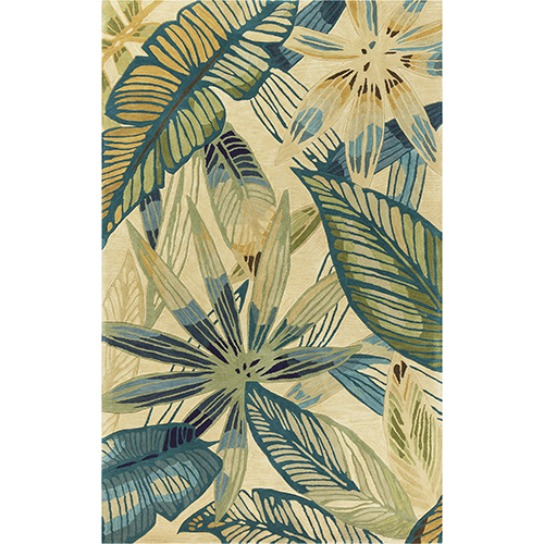 KAS Oriental Rugs Sparta Ivory and Teal Nassau Rectangular: 3 Ft. 6 In. x 5 Ft. 6 In. Rug