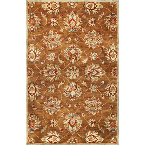 KAS Oriental Rugs Syriana Coffee Allover Kashan Rectangular: 5 Ft. x 8 Ft.  Rug
