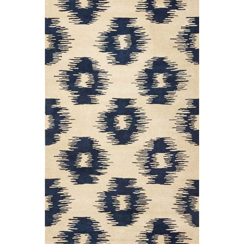 KAS Oriental Rugs Tapestry Ivory/Blue Simplicity Rectangular: 5 Ft. x 8 Ft.  Rug