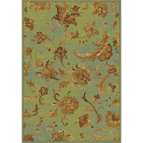 KAS Oriental Rugs Versailles Aqua Aegean Scroll Rectangular: 5 Ft. 3 In. x 7 Ft. 7 In.  Rug
