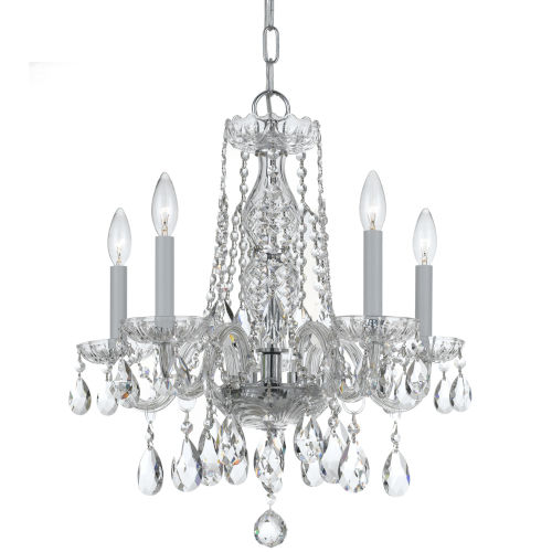 Traditional Crystal Swarovski Strass Crystal Polished Chrome Four-Light Chandelier