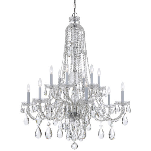 Traditional Crystal Swarovski Strass Crystal Polished Chrome Ten-Light Chandelier