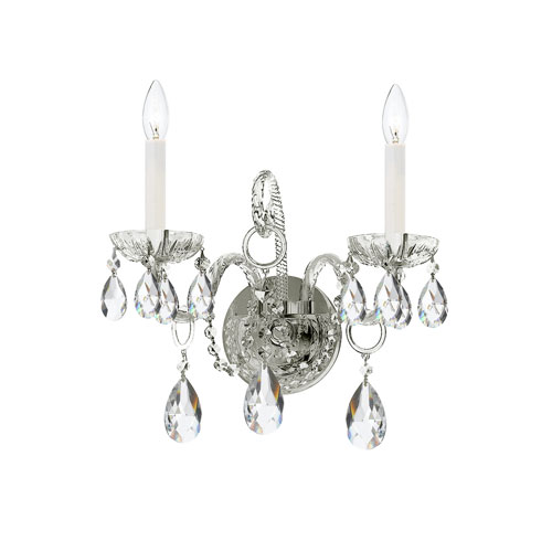Traditional Crystal Polished Chrome Two-Light Sconce with Clear Spectra Crystal.
