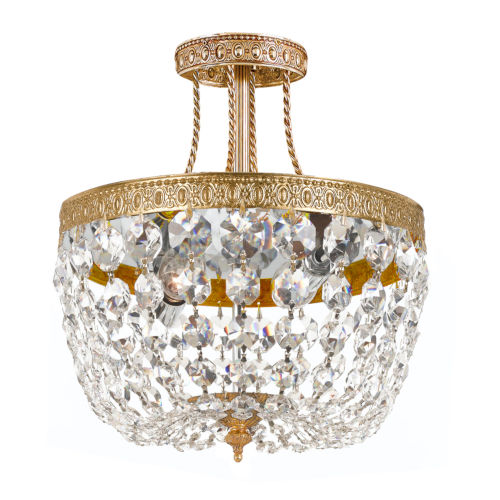 Richmond Olde Brass Three-Light Semi-Flush Mount with Swarovski Strass Crystals