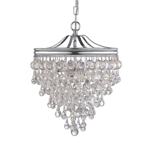Calypso Polished Chrome Three-Light Pendant with Smooth Glass Balls
