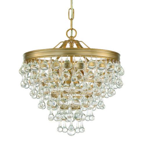 Calypso Three-Light Vibrant Gold Mini Chandelier