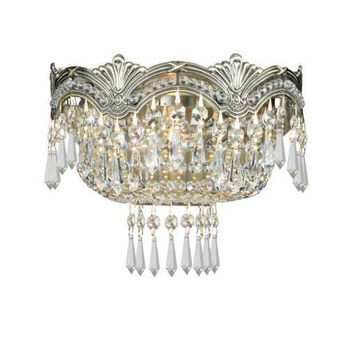 Majestic Sold Cast Brass Ornate Crystal Two-Light Sconce