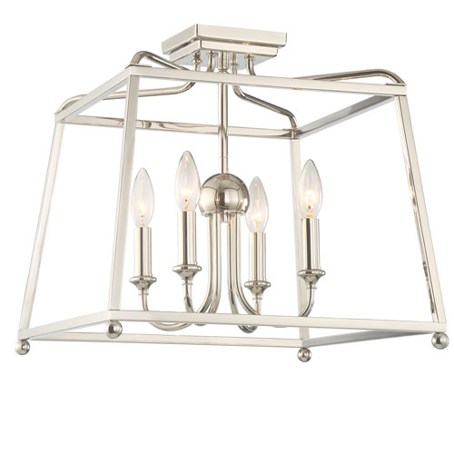 Crystorama Lighting Group Sylvan Polished Nickel Four-Light Flush Mount