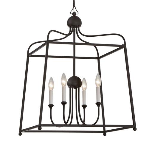 Crystorama Lighting Group Sylvan Dark Bronze 38-Inch Four-Light Chandelier