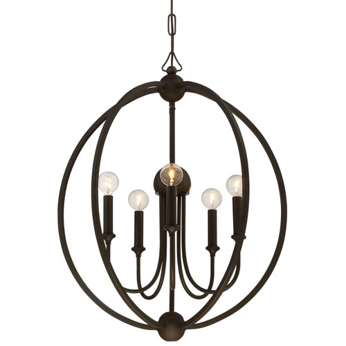 Crystorama Lighting Group Sylvan Dark Bronze Five-Light Chandelier