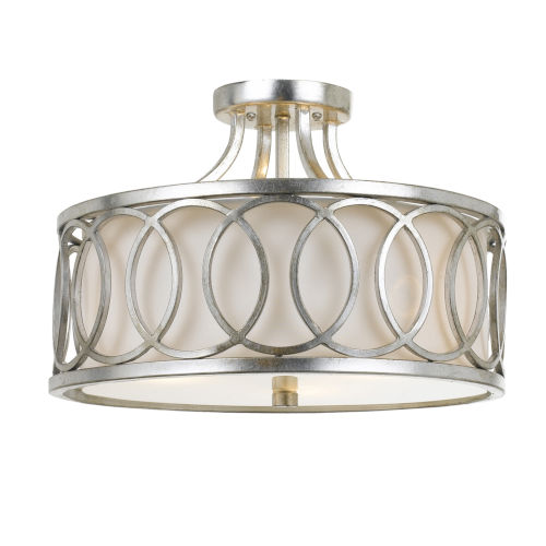 Graham Antique Silver 15-Inch Three-Light Semi Flush Mount by Libby Langdon