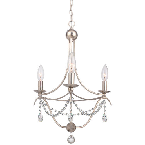 Crystorama Lighting Group Metro Antique Silver Three-Light Mini Chandelier with Clear Hand Cut Crystal