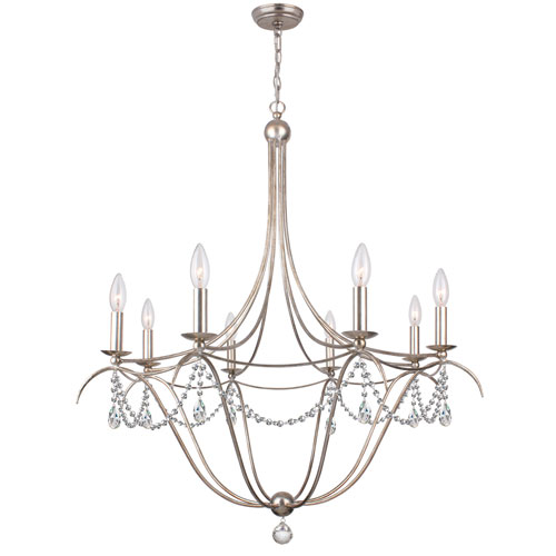 Hot Deal Antique Silver Eight-Light Chandelier with Clear Hand Cut Crystal