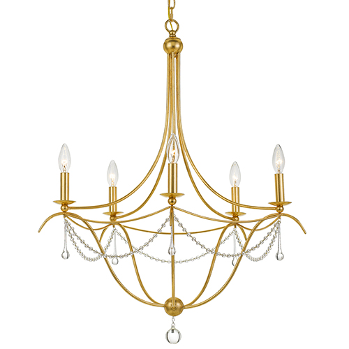 Crystorama Lighting Group Metro Antique Gold Five-Light Chandelier