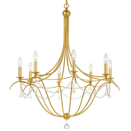 Metro Antique Gold Eight-Light Chandelier